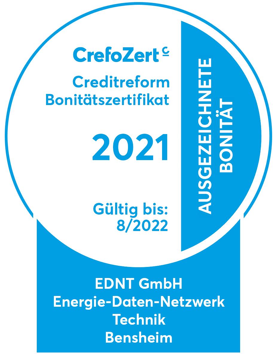 Die EDNT GmbH erhielt für ausgezeichnete Bonität das Creditreform Bonitätszertifikat.
